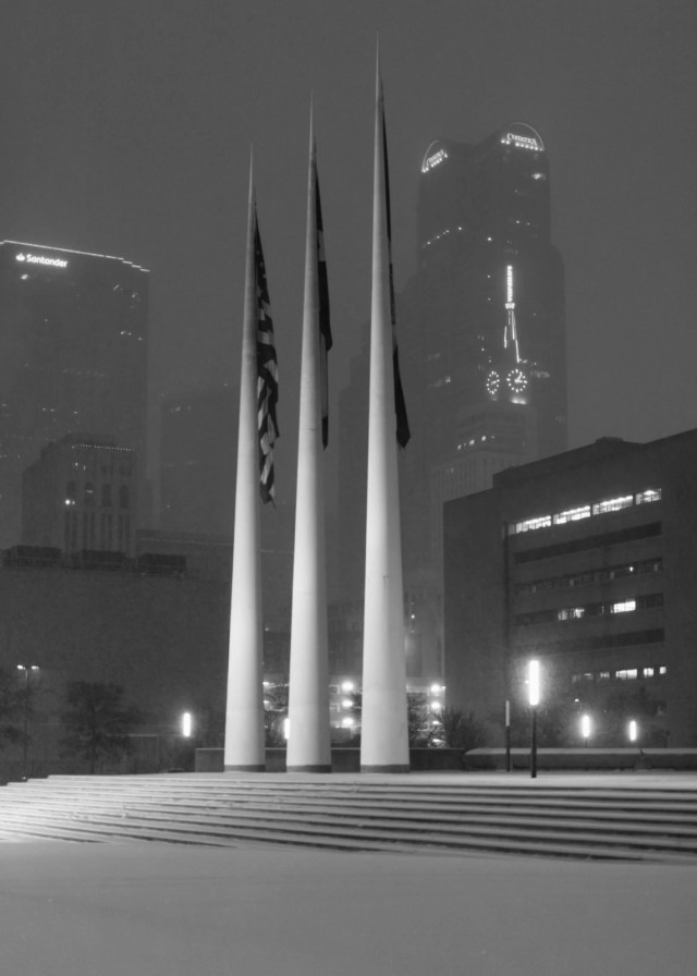 City of Dallas flag posts at night in the snow