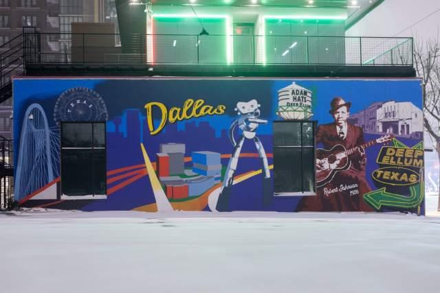 Texas mural by Terry Black's in Deep Ellum
