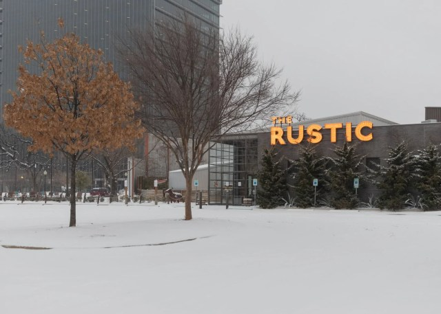 The Rustic covered with snow after the Dallas winter storm