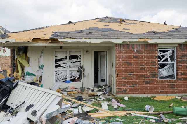 A house damaged by the Forney tornado