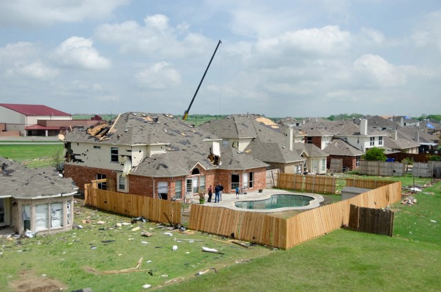 Homes in the Diamond Creek subdivision damaged by a tornado