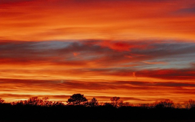 A beautiful fire orange sunset in East Texas