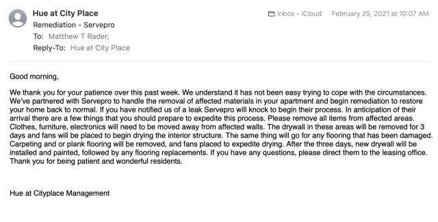 Email from Indio Management