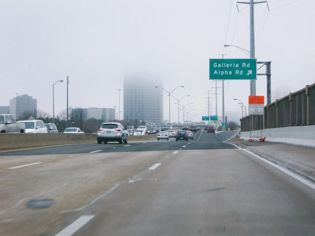 Commuting in Dallas on a foggy day