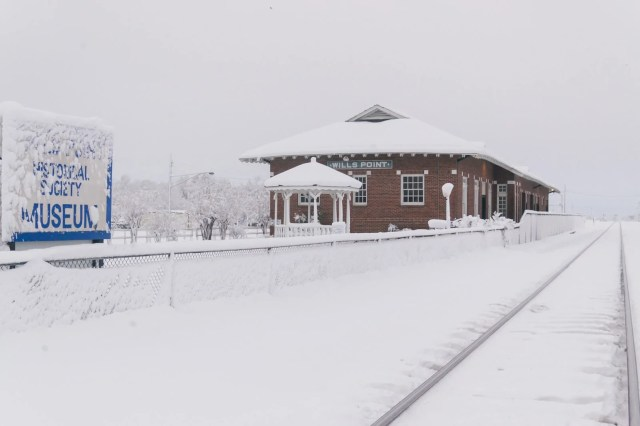 Old train station in the 2010 North American Blizzard