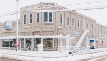 Bruce Human drug store covered with snow
