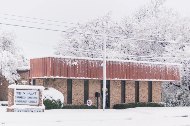 Wills Point city hall in the 2010 East Texas snowstorm