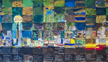 Masterpiece Mosaic Collaborative Art of the Dallas skyline by Lakewood Elementary