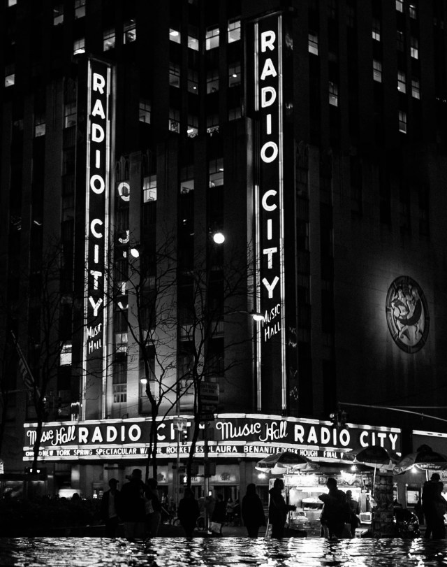 Radio City Music Hall at night in NYC