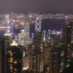 Die Skyline von Hongkong vom Peak aus gesehen.