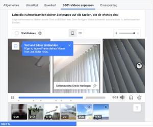 Die Bedienoberfläche der Facebook 360 Director Tools