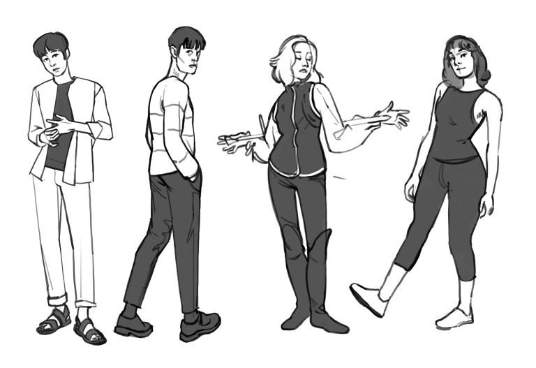 Croquis personnages en pied