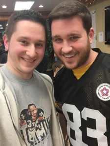 I wore my Bo Jackson T-shirt and Mike donned his Louis Lipps jersey for our Tecmo Madison debuts.
