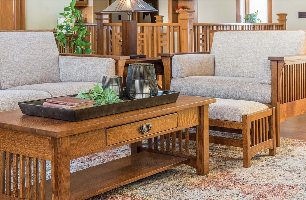 The Highback Slat Living Collection shown in Oak at Mattie Lu.
