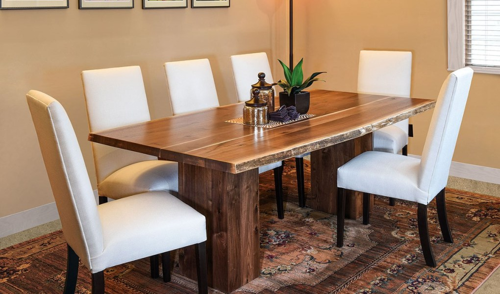 Rio Vista Trestle Dining Collection shown in Rustic Walnut with a Live Edge top at Mattie Lu