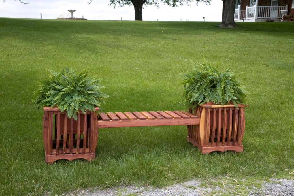 Two Cedar Garden Planters with Sitting Bench at Mattie Lu