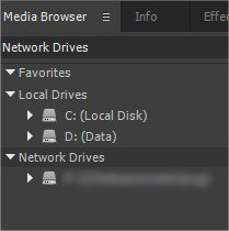 Map Network Drives Premiere CC 05