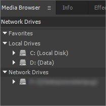 Map Network Drives Premiere CC 05