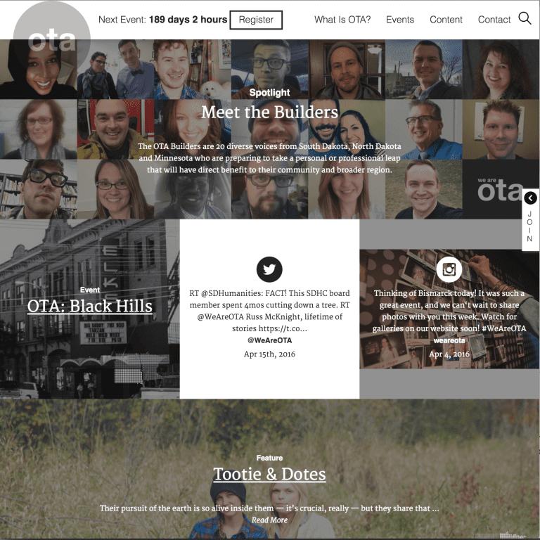 Screenshot of OTA website with transparent logo