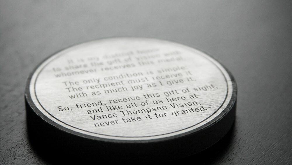 Back of Gift of Sight medallion