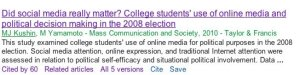 Example of Google Scholar Search Results. See explanation of features below.