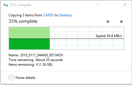 Downloading from SD card to SSD