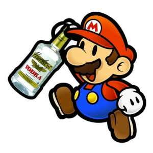 Super mario with hawkeye vodka