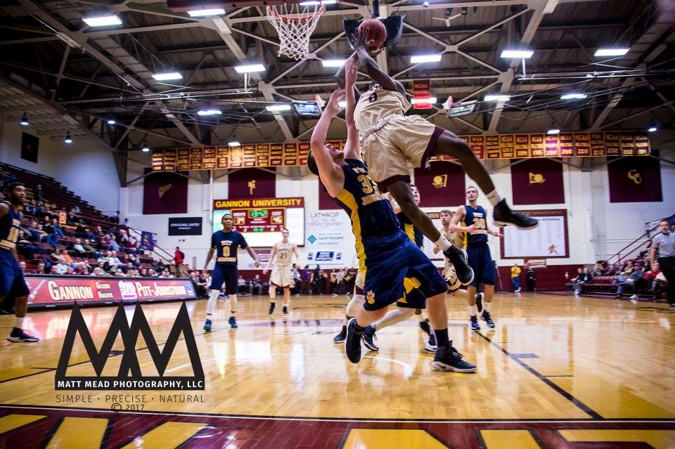 Gannon University sports photography; mens basketball players