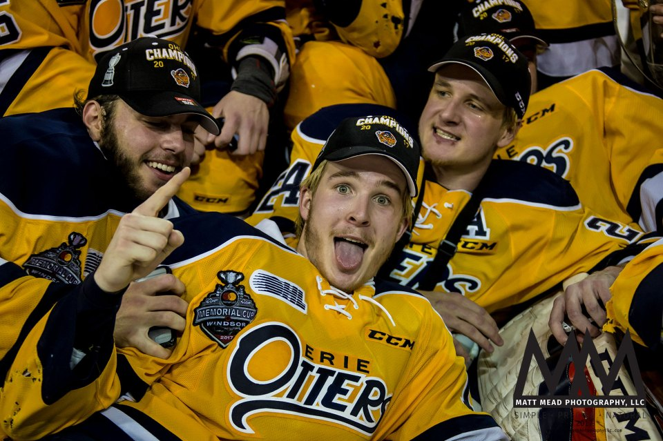 Taylor Raddysh of Erie Otter Hockey Club making a silly face in team photo