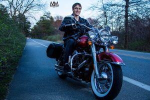 senior portrait angle on motorcycle photo