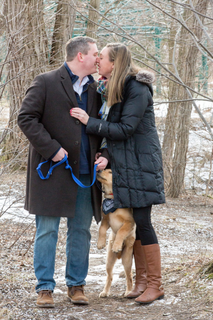 engaged couple kissing and laughing as puppy jumps between them at Frontier Park in Erie, PA