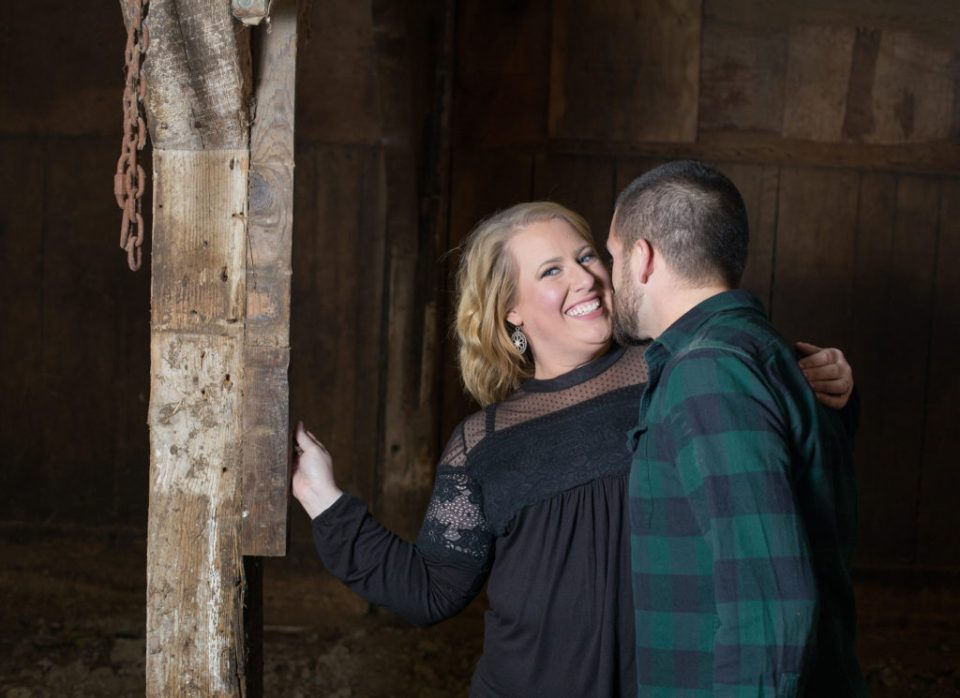 rustic engagement session at The Barn at Conneaut Creek
