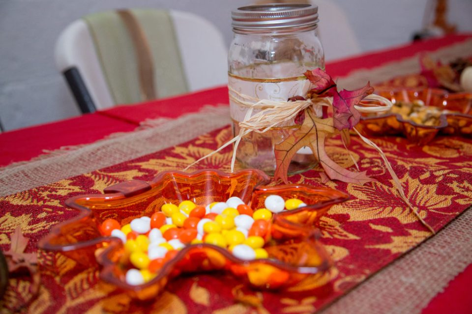 fall table decor from DIY wedding in Erie, PA