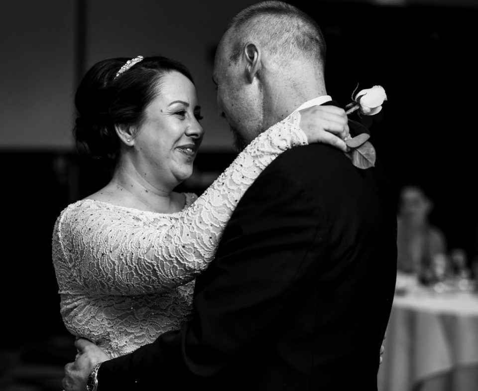 Erie, PA bride and groom during first dance at Sheraton Bayfront hotel wedding