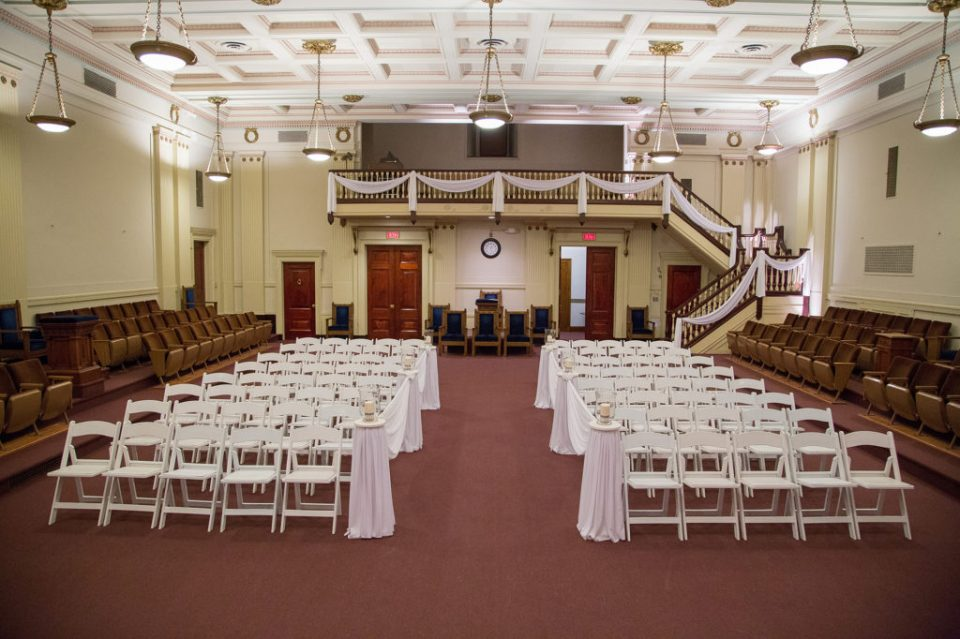 Masonic Temple wedding ceremony set-up in Erie, PA