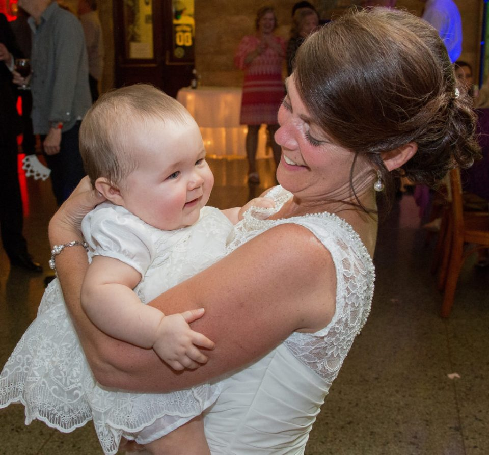 bride dancing with her granddaughter at Erie, PA Masonic Temple wedding
