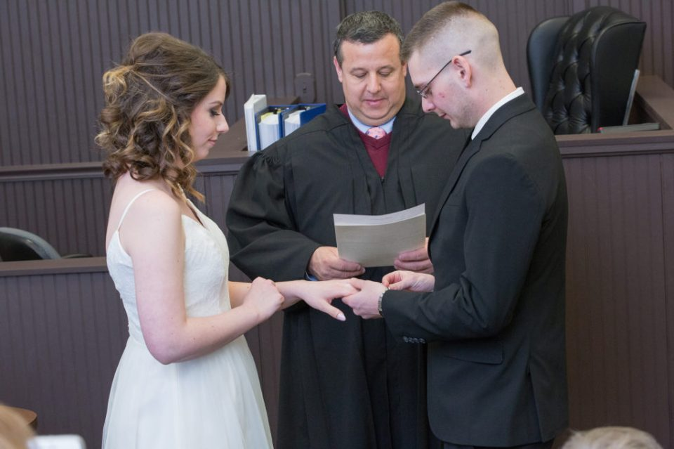 wedding at judge's office in Erie, PA