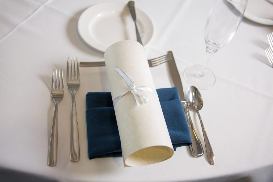 place setting at Sheraton Bayfront Hotel in Erie, PA