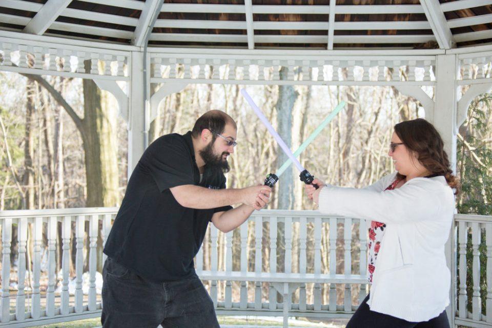 Couple engages in lightsaber battle at Robin Hill Park gazebo