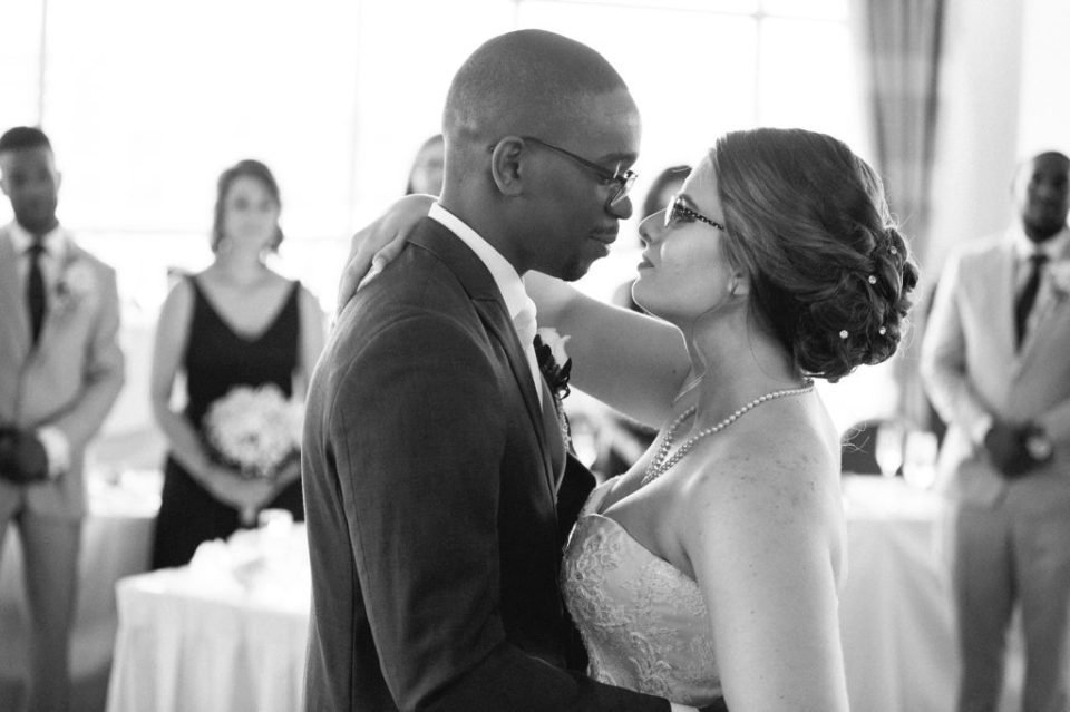 bride and groom during first dance at their wedding at Sheraton Bayfront Hotel