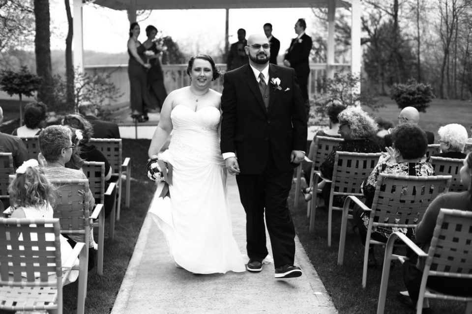bride and groom walking during recessional at Star Wars themed wedding in Pittsburgh PA