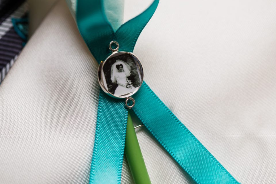 ovarian cancer teal ribbon in memorial to groom's mom at Erie PA backyard wedding