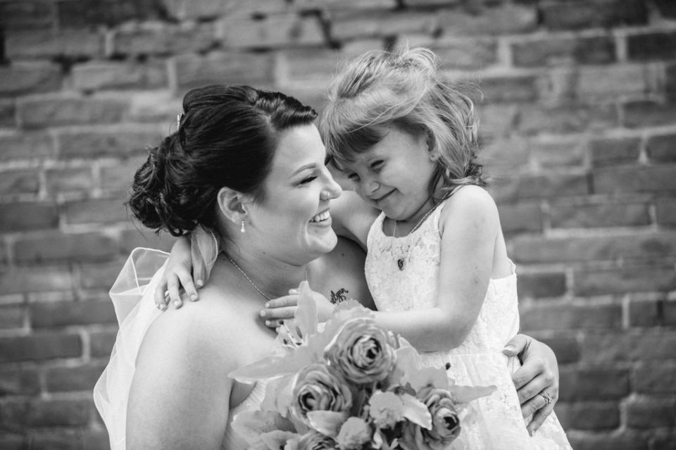 bride and her little girl at Brewerie wedding
