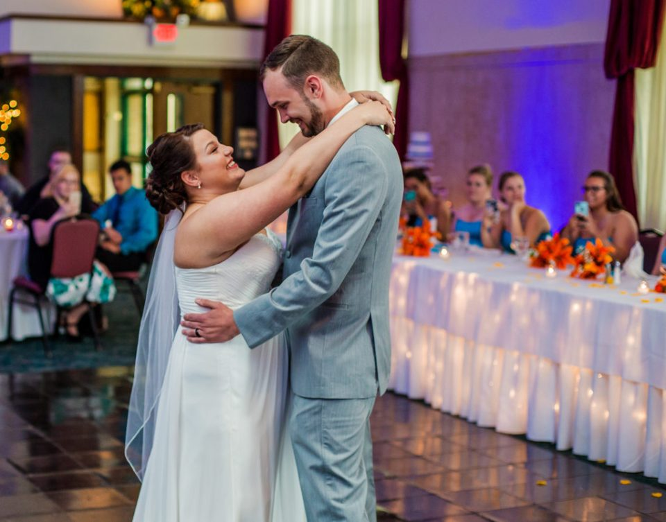 Erie Pa bride and groom share first dance at their Brewerie wedding