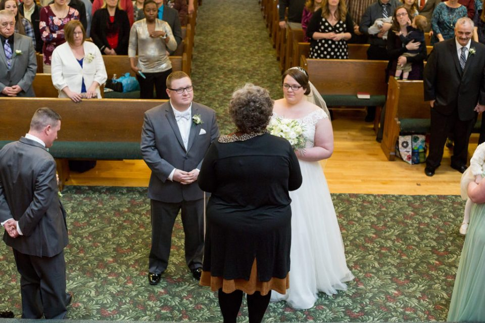 photo of wedding ceremony from choir balcony in Erie PA