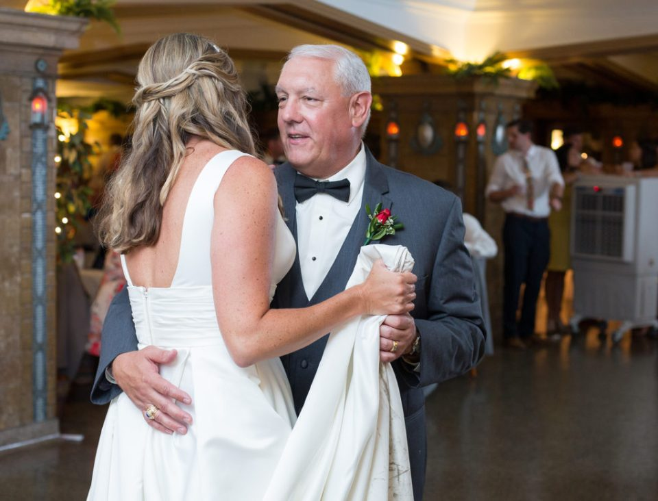 father of the bride shares a dance with his daughter at Masonic Temple wedding reception in Erie PA