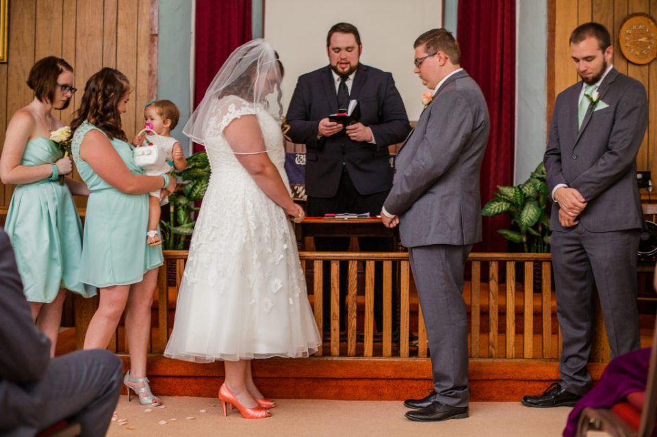 wedding ceremony at Torpedo Community Church