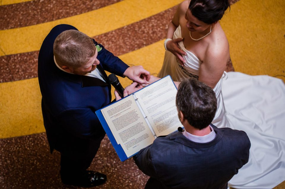 Aerial view of the vows at Amanda and Justins Warner Theater Wedding
