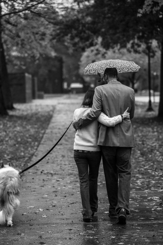 Couple walks with their dog during Edinboro PA engagement photos session