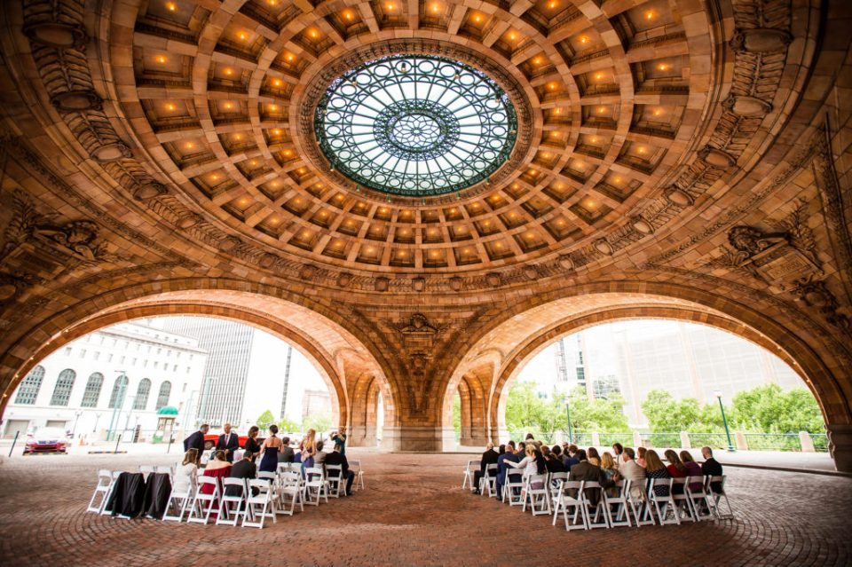 View of wedding setup at the Rotunda of the Pennsylvanian Apartments in Pittsburgh PA